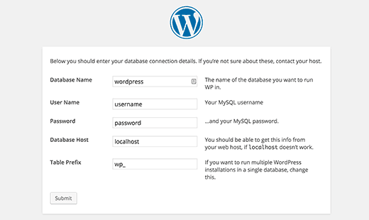 Database settings for WordPress 5-minute install