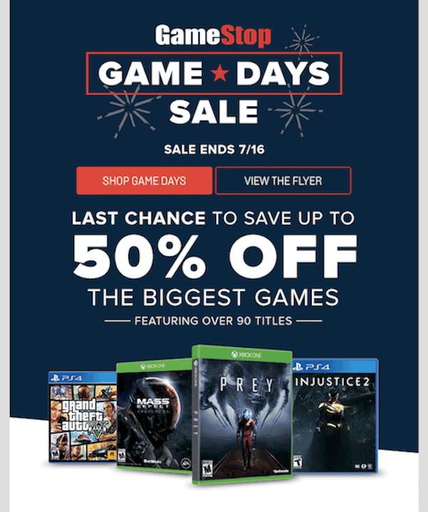 GameStop email newsletter