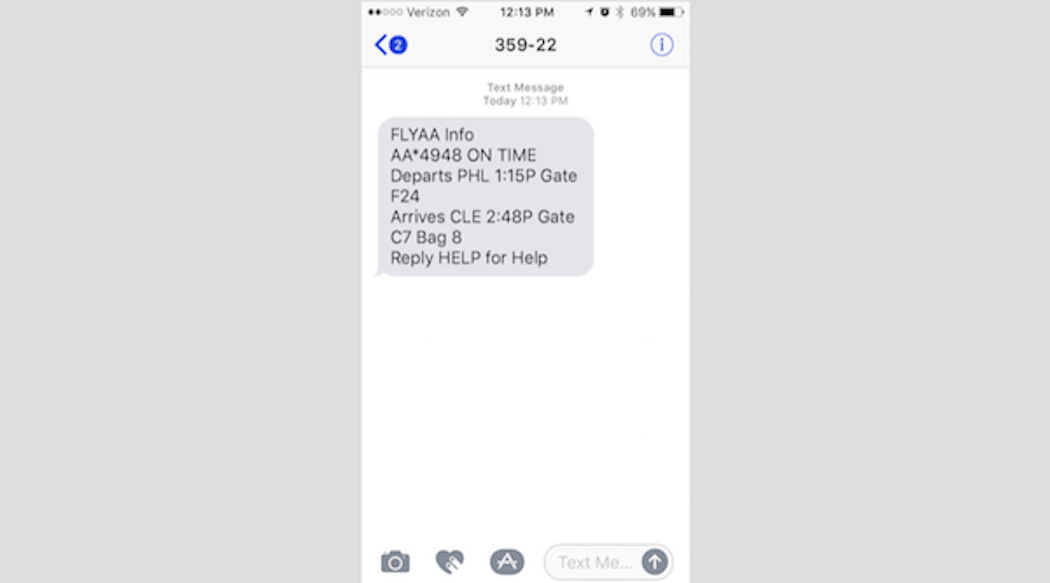 SMS for WordPress - American Airlines Text Notification Confirmation