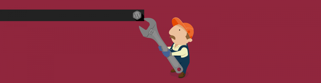 A man fixing a WordPress logo with a spanner