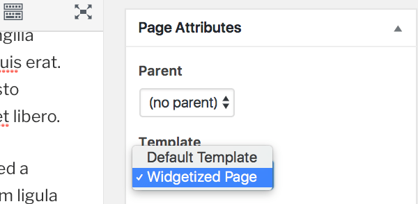 page template selector in the page editing screen