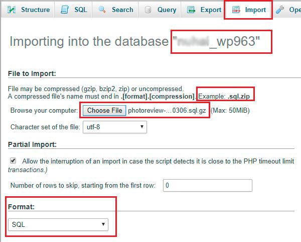 phpMyAdmin import database sql