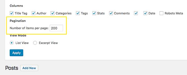 Pagination settings for WordPress screen options