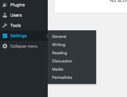 The WordPress Settings tab