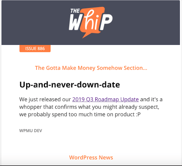 Example of the whip newsletter