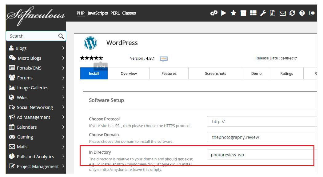 WordPress auto installer sub-directory-option