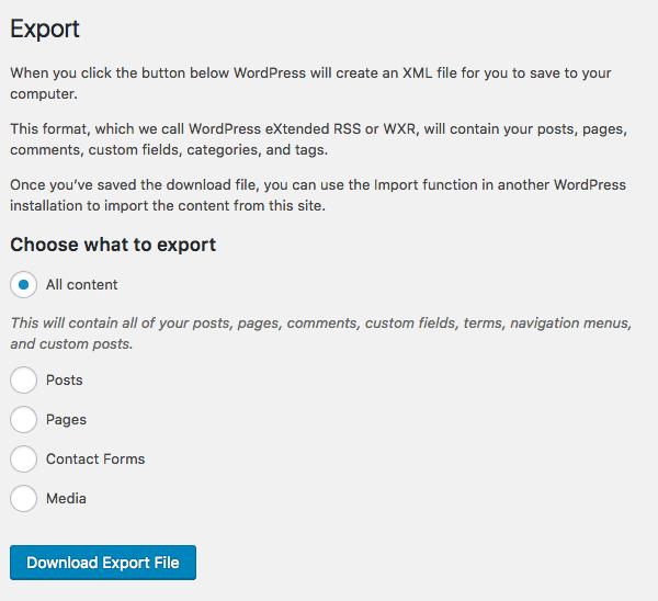WordPress export settings