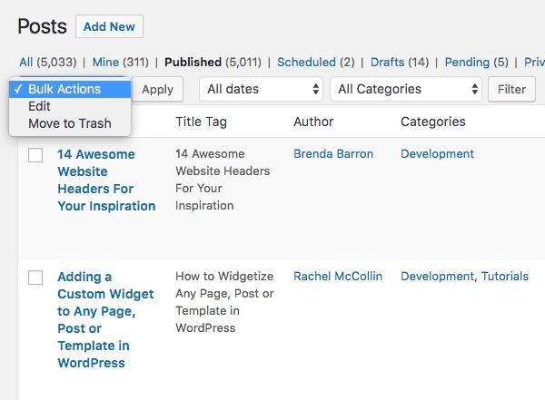 Bulk edit settings for posts in WordPress