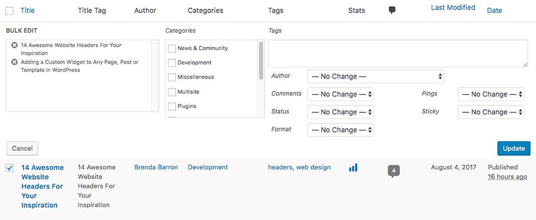 "The bulk edit settings for WordPress posts when you choose ""Edit"""