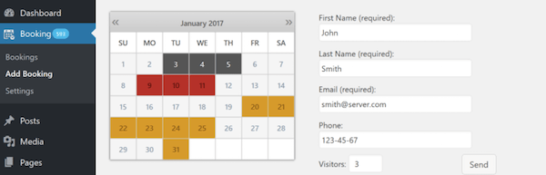 Booking Calendar reservation plugin for WordPress.