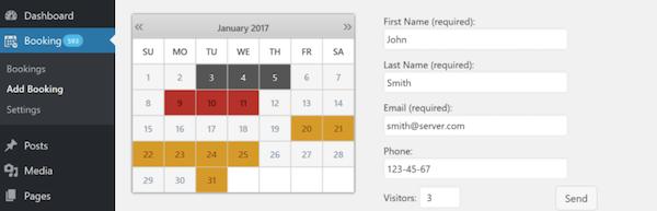 Booking Calendar reservation plugin for WordPress.