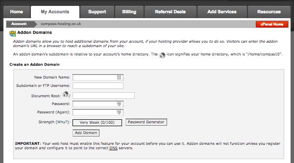 configuring an addon domain