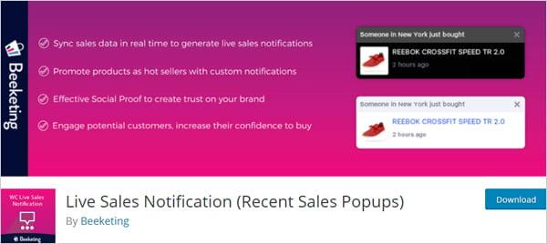 Beeketing live sales popup notification plugin
