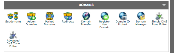 domains section of cPanel