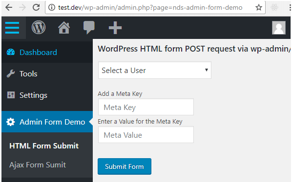 plugin admin page with html form