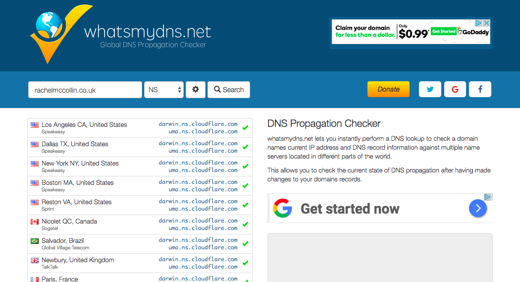 Whatsmydns.net shows my site's name servers
