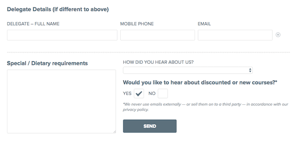 A booking form with auto-completed checkbox