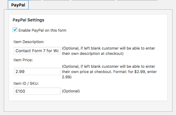 Enable PayPal on a form and set item description, price and item ID