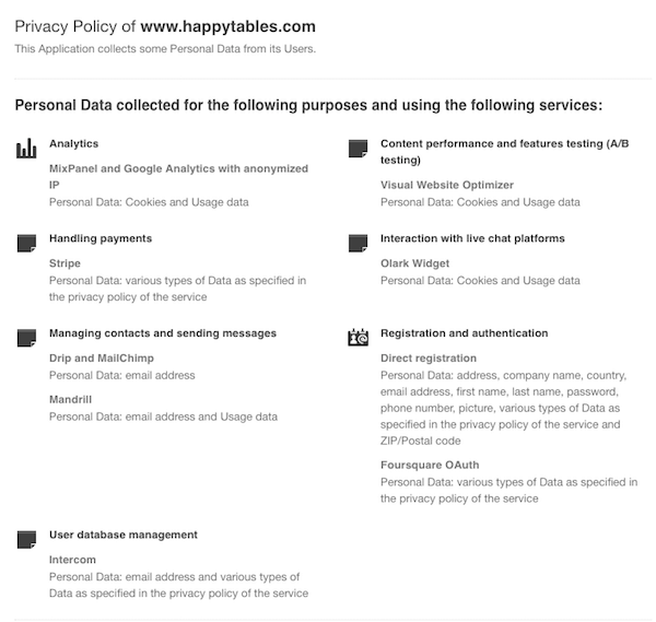 Happytables privacy policy summary
