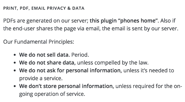 Print, PDF, Email Privacy & Data