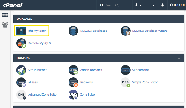 The cPanel interface.