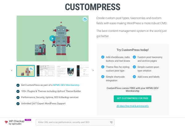 CustomPress plugin on WPMU DEV website