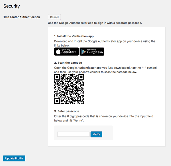 Complete Defender two-factor authentication setup