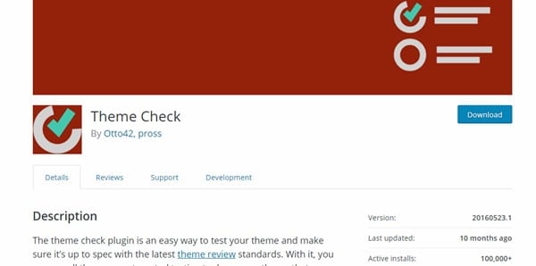 Theme Check plugin.