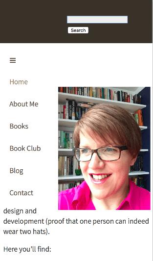 mobile site with menu displayed