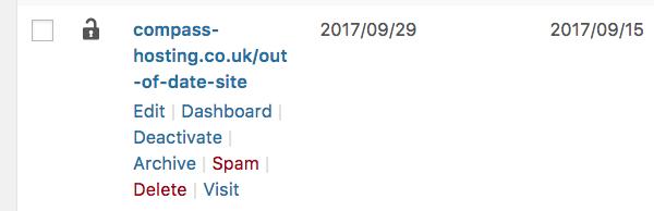 Multisite network admin - sites screen