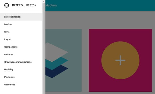 The areas covered in Google's Material Design guidelines