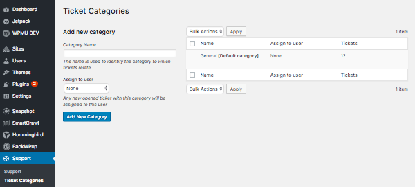 Editing ticket categories in the admin screen