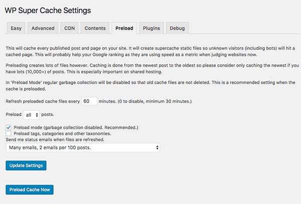 WP Super Cache preload settings