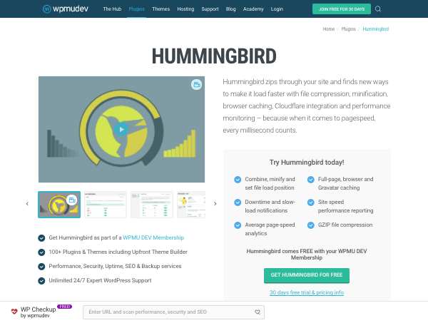 Hummingbird plugin page on wpmu dev