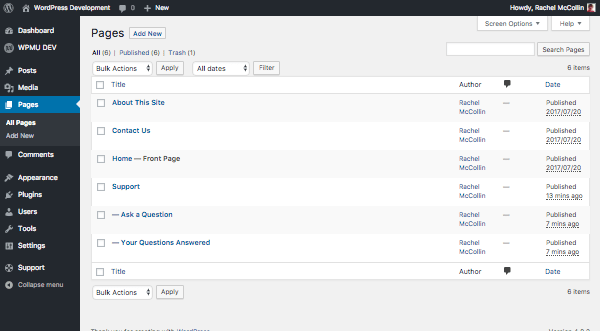 pages set up in the WordPress admin