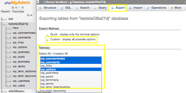 Export page of phpMyAdmin