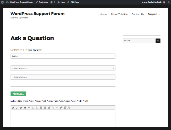 submit ticket screen