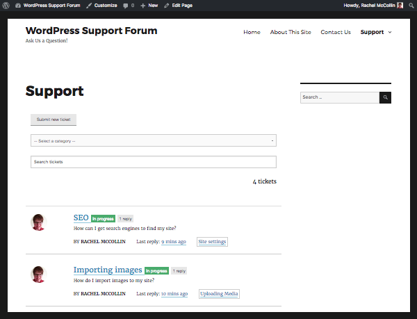 support tickets listed in the support page