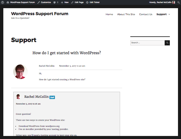 a support ticket in the front end site