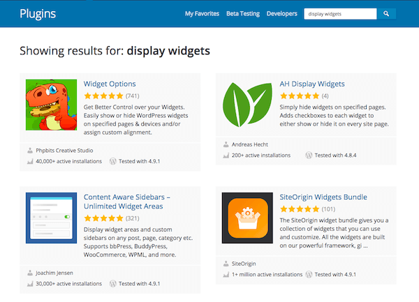 "Search results for ""Display Widgets"" on WordPress.org plugins tab"