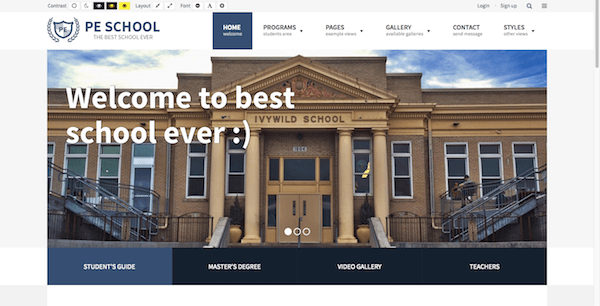 School theme home page with Revolution Slider