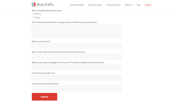 Perfect Contact Form - BrainTraffic Alignment