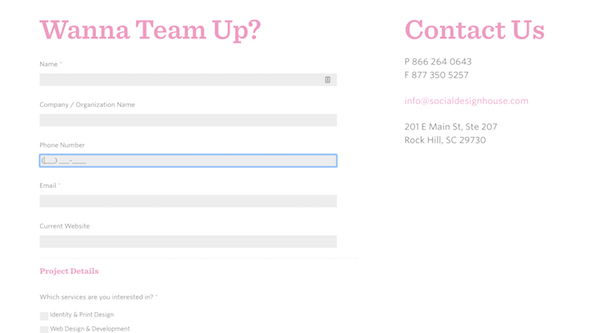 Perfect Contact Form - Social Design House Format