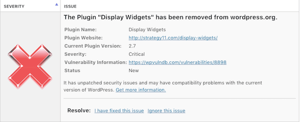 "Wordfence security warning: The Plugin ""Display Widgets"" has been removed from wordpress.org"