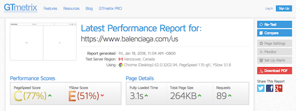 Brutalist Web Design - Balenciaga Page Speed