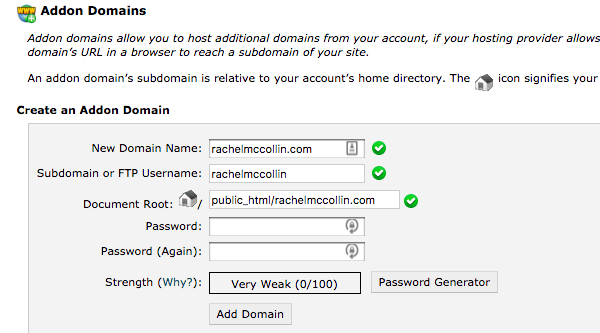 managing addon domains in cPanel