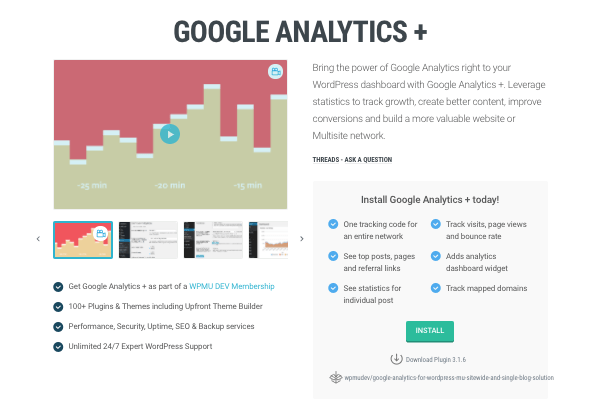 Google Analytics+ plugin page on WPMU DEV website