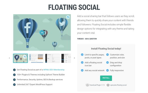 The Floating Social plugin