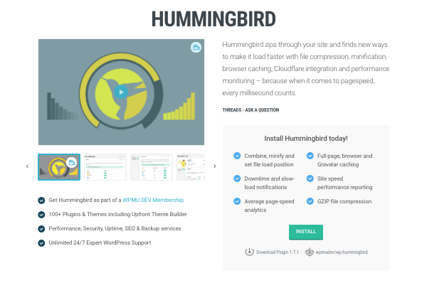 Hummingbird plugin page on WPMU DEV website