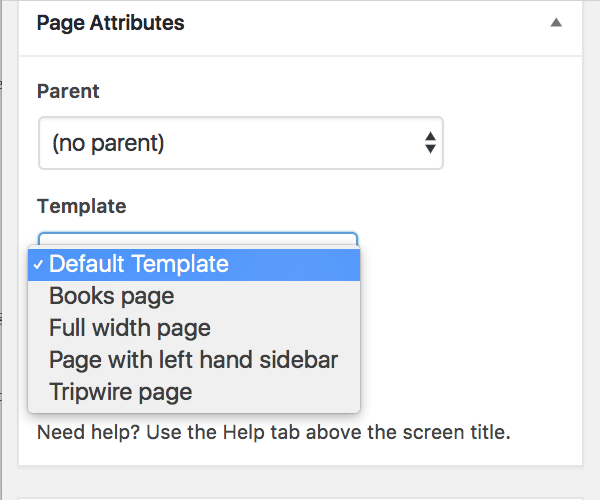 Selecting a custom page template in the page editing screen